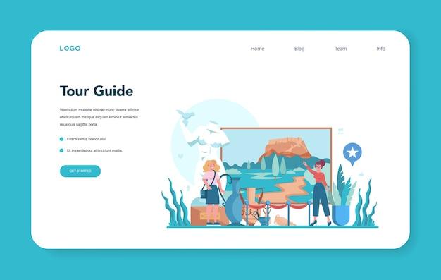 Banner web o pagina di destinazione della guida alle vacanze turistiche.