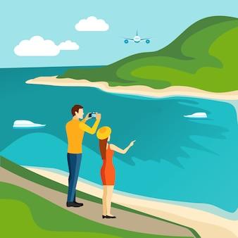 Manifesto turistico itinerante paese di turismo