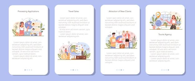 Set di banner per applicazioni mobili per esperti di turismo