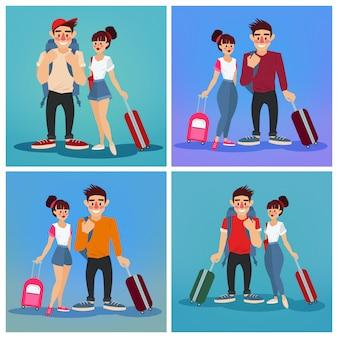 Industria del turismo. persone attive. ragazza con bagaglio. uomo con bagaglio. turisti con bagagli. coppia felice. illustrazione vettoriale stile piatto