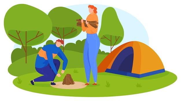 Turismo. un uomo e una donna accendono un fuoco, raccolgono cespugli, costruiscono una tenda nella natura. stile cartone animato,