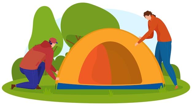 Turismo. l'uomo e la donna fanno una tenda in natura. stile cartone animato,