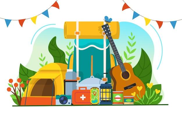 Set da turismo per il campeggio.