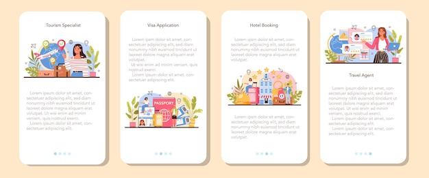 Set di banner per applicazioni mobili specializzate nel turismo. tour di vendita dell'agente di viaggio