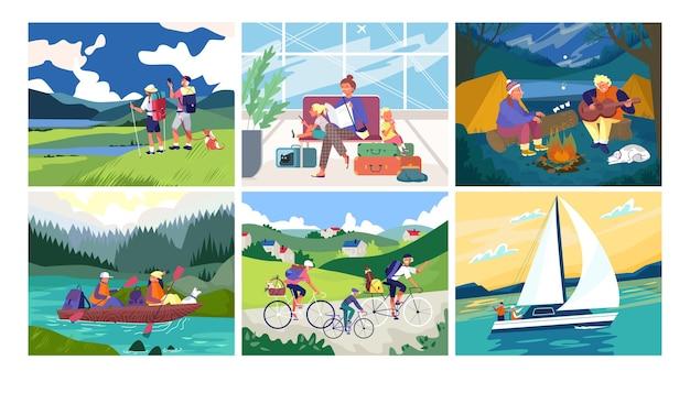 Turismo e viaggi insieme di banner illustrazione
