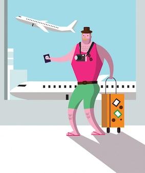 Turista al terminal dell'aeroporto, concetto di viaggio e di vacanza.