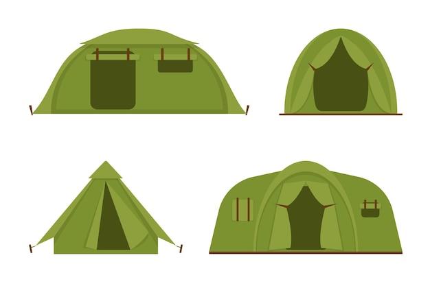 Set di tende da campeggio turistico isolato su sfondo bianco tende da campeggio e da trekking