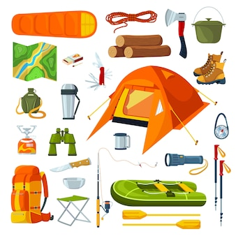 Attrezzatura da campeggio turistica isolata su bianco insieme delle illustrazioni