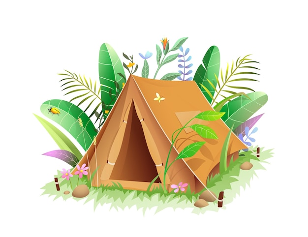 Tenda da campeggio turistica nella giungla o nella foresta lussureggiante fogliame verde.