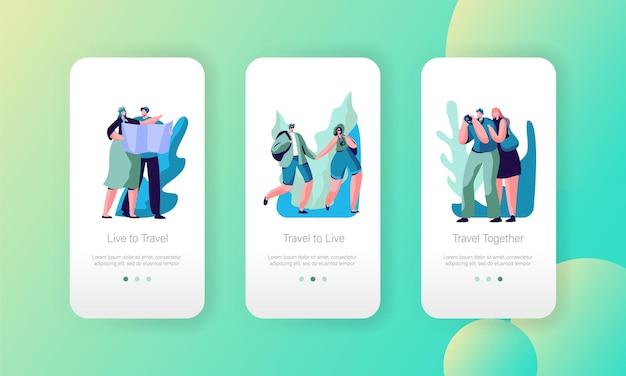 Set di schermo a bordo pagina app mobile di viaggio coppia turistica.