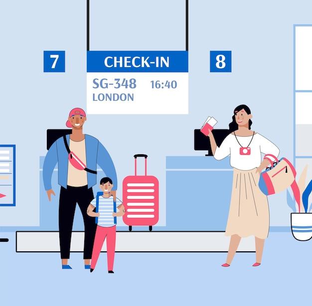 Famiglia di turisti al banco del check-in dei voli dell'aeroporto con biglietti aerei