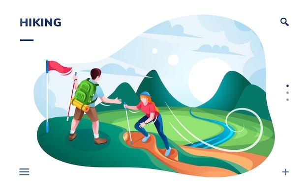 Escursionismo turistico in collina o alpinisti che scalano in cima alla montagna con bandiera.