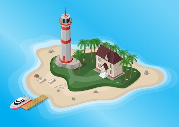 Isola turistica con palme, faro e casa con yacht sul mare.