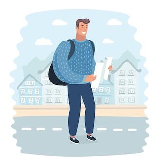 L'uomo turistico prova a navigare da solo con la mappa e lo smartphone in una città sconosciuta