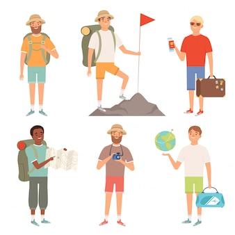 Tourist. viaggiatori di personaggi esterni che fanno un'escursione nella collezione di avventure dei popoli di zaino in spalla