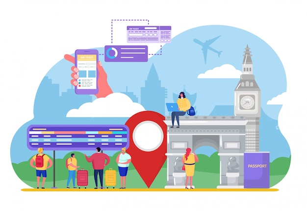 La gente turistica viaggia in aereo, personaggio dei cartoni animati minuscolo uomo donna acquistare biglietto aereo, vacanza su bianco