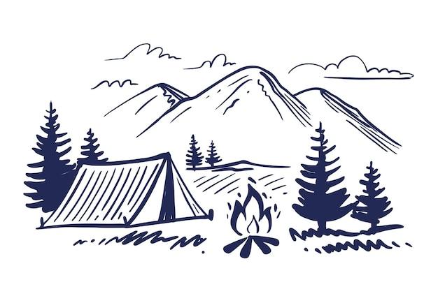 Tenda turistica nello schizzo di montagne.