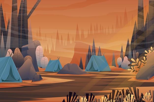 Tende turistiche da campeggio nella zona della foresta e all'alba al mattino, sfondo della natura del paesaggio con lago e colline, concetto di campo estivo orizzontale