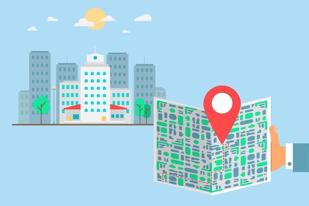 Turista con mappa in città. schermo dello smartphone con puntatore della mappa. posiziona l'applicazione di ricerca per il dispositivo mobile. il turista usa il gps sul gadget in viaggio