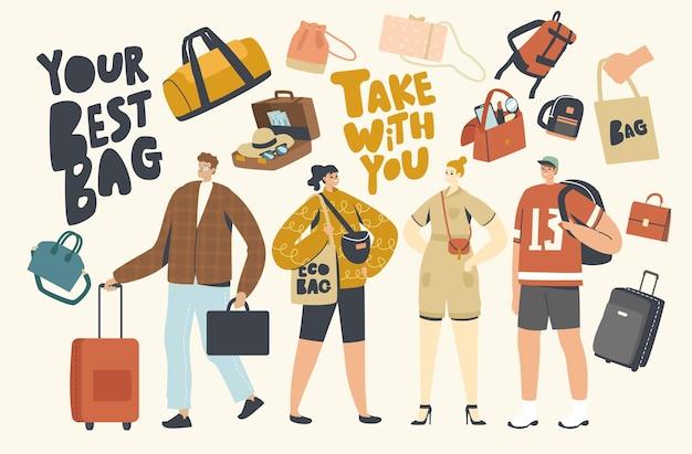 Caratteri di turisti con diversi bagagli. le persone si preparano ad andare in vacanza estiva, viaggiare in resort con le valigie. donna con reticolo, studente con zaino. illustrazione vettoriale di persone lineari