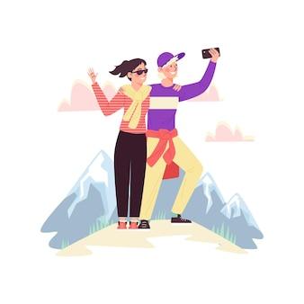 Turisti uomo e donna sull'illustrazione piana di vettore della collina della montagna isolata