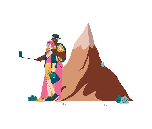 Turisti che prendono selfie sullo sfondo dell'illustrazione di montagna