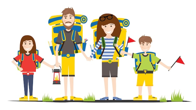 Turisti con zaini isolati su bianco. famiglia in campeggio. illustrazione di vettore.