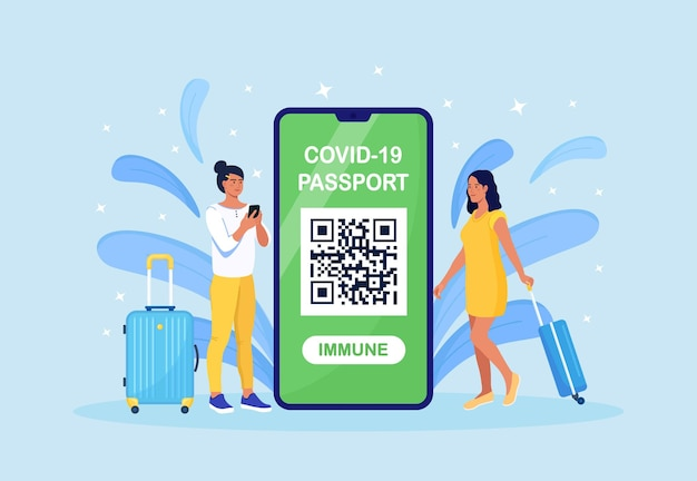 Turisti con bagaglio e documento di immunità al coronavirus sul cellulare.app certificato di vaccinazione. passaporto internazionale per viaggiare durante la pandemia di coronavirus. monitoraggio della salute dei passeggeri