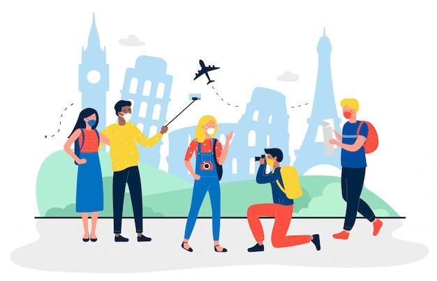 I turisti con maschere mediche sono all'illustrazione di viaggio turistico. persone che fanno foto e selfie per la memoria. uomini e donne che indossano protezione dal virus. concetto di agenzia di viaggi.