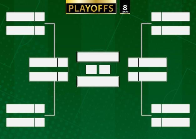 Staffa del torneo per 8 squadre su sfondo verde di calcio