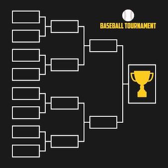 Staffa del torneo. schema di campionato di baseball con coppa del trofeo. illustrazione vettoriale di sport.