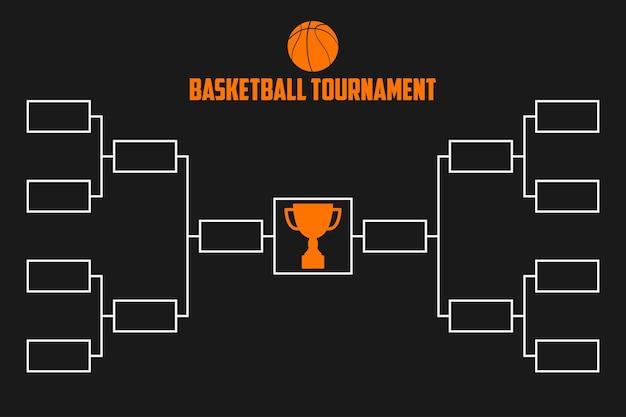 Staffa del torneo. schema di campionato di basket con coppa del trofeo. illustrazione vettoriale di sport.