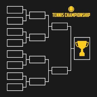 Staffa del torneo. schema di campionato di tennis con coppa del trofeo. illustrazione vettoriale di sport.