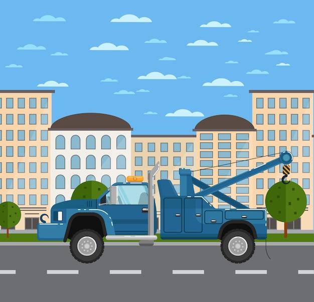 Camion di rimorchio sulla strada nel paesaggio urbano