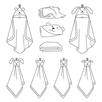 Icone della linea di contorno dell'asciugamano. cartone animato oggetti puliti a secco per il bagno, oggetti puliti carini disegnati a mano per l'asciugatura nella vasca da bagno, illustrazione vettoriale di asciugamani isolati su sfondo bianco