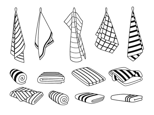 Asciugamani per le icone della cucina. oggetti puliti carini disegnati a mano per l'asciugatura, cartone animato appeso e set di asciugamani impilati, illustrazione vettoriale rotoli di tessuto isolato su sfondo bianco