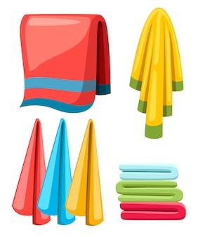 Set asciugamani. raccolta di illustrazione del fumetto. asciugamani in stoffa per bagno e doccia. asciugamani in tessuto colorato. illustrazione su sfondo bianco