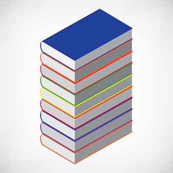 Torre del libro su bianco con copertina vuota