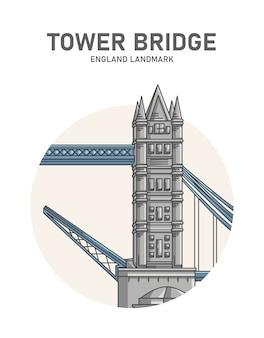 Manifesto del punto di riferimento inghilterra del tower bridge