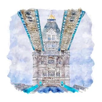 Illustrazione disegnata a mano di schizzo dell'acquerello di londra del tower bridge