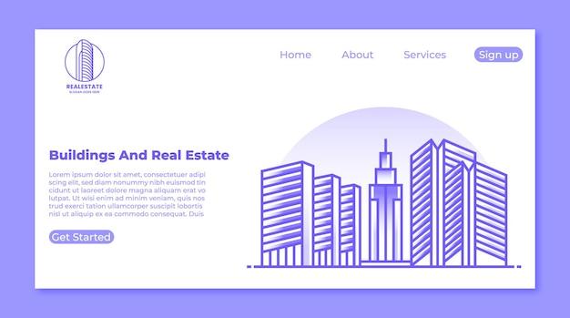 Edificio a torre e concetto di pagina di destinazione immobiliare