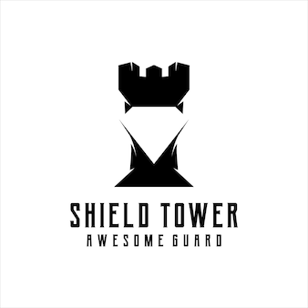 Torre scudo logo silhouette retrò vintage