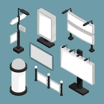 Tabelloni per le affissioni della città 3d, insiemi dell'insegna dei segni della via insegne in bianco modello di pubblicità isometrico per la pubblicità