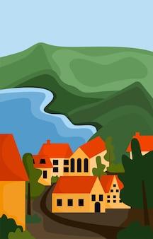 Una città tra le montagne. piccole case, un lago e colline. paesaggio verticale primaverile ed estivo. sfondo per banner, biglietti di auguri e poster. illustrazione vettoriale piatto moderno.
