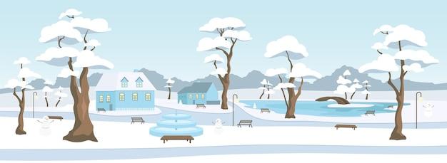 Parco cittadino in colore piatto stagione invernale. zona ricreativa della città. piazza nel villaggio. riposo all'aperto. strade innevate e case 2d cartone animato paesaggio con alberi e pupazzo di neve sullo sfondo
