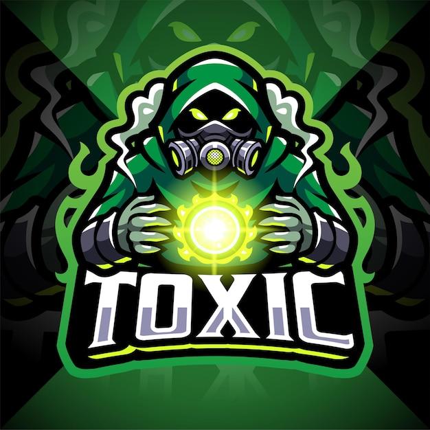 Disegno del logo mascotte esport di gas tossici