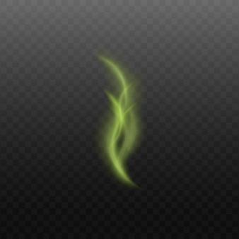 Tossico o magico verde vapore liscio o fumo che scorre verso l'alto
