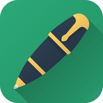 Penna a sfera giocattolo dal design semplice con lunga ombra icona piana di vettore