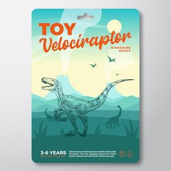 Modello di etichetta dinosauro giocattolo modello astratto vettoriale packaging design layout tipografia moderna