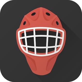 Casco da portiere di hockey giocattolo in design piatto con lunga ombra illustrazione vettoriale icon